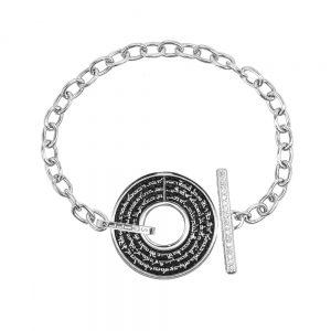 bracciale donna catena t bar rodio pietre bianche era gioielli argento ellius retro