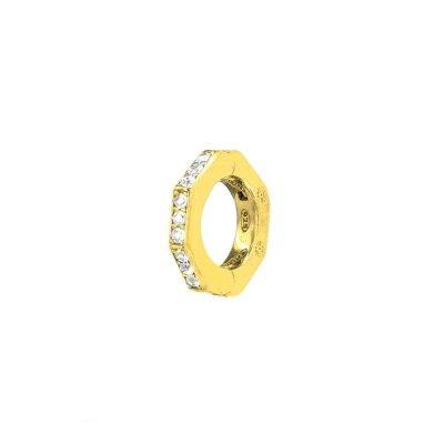 orecchino donna ottagono dorato pietre bianche solaris gioielli argento ellius