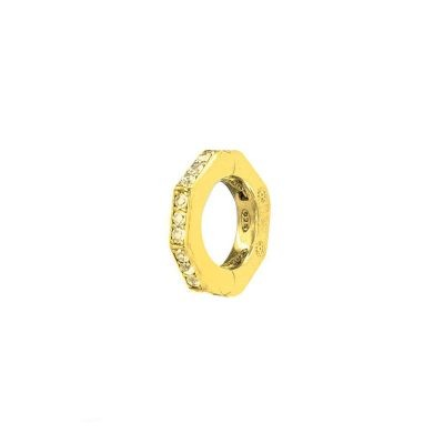 orecchino donna ottagono dorato pietre champane solaris gioielli argento ellius