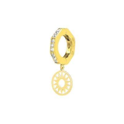 orecchino donna ottagono e sole dorato pietre bianche solaris gioielli argento ellius