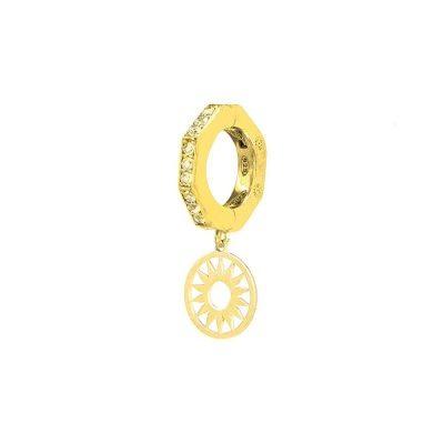 orecchino donna ottagono e sole dorato pietre champagne solaris gioielli argento ellius