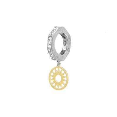 orecchino donna ottagono e sole rodio pietre bianche solaris gioielli argento ellius