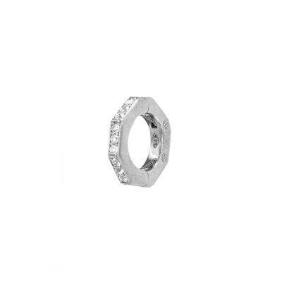 orecchino donna ottagono rodio pietre bianche solaris gioielli argento ellius