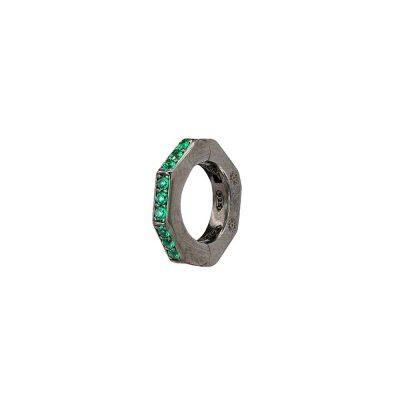 orecchino donna ottagono rutenio pietre verdi solaris gioielli argento ellius