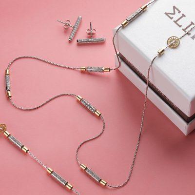 collana bracciale orecchini raggi pietre bianche ambientata collezione solaris gioielli argento ellius